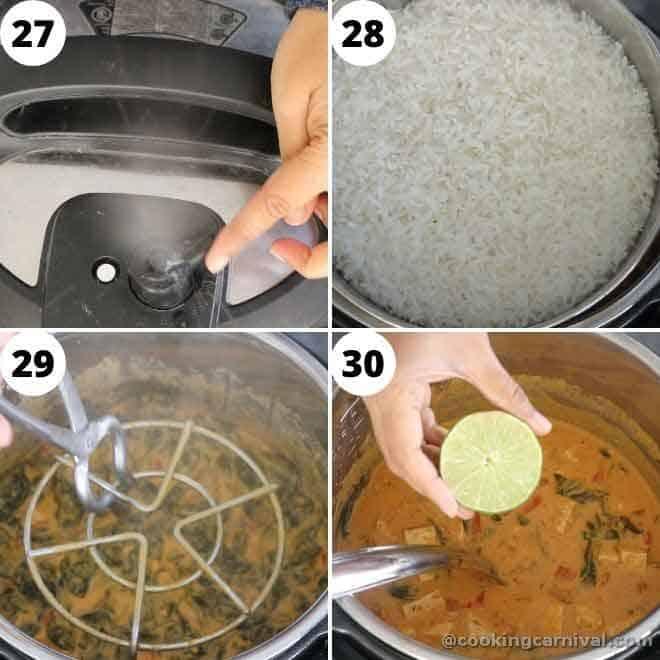 collage of thai peanut tofu curry