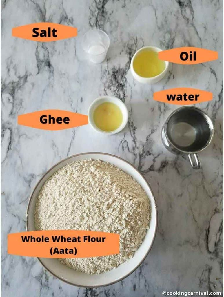ingredients of Whole wheat Paratha recipe