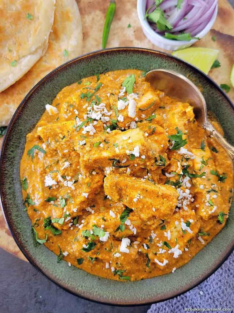 Paneer curry in a bowl