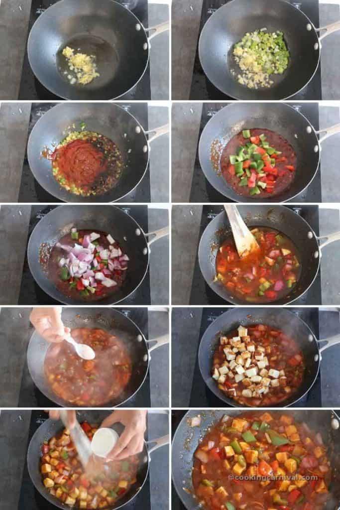 making schezwan paneer in wok