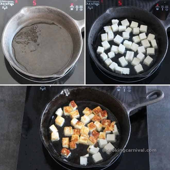 shallow frying paneer in cast iron pan