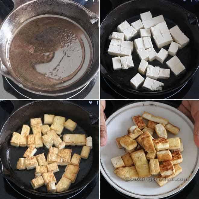 Collage of pan frying tofu