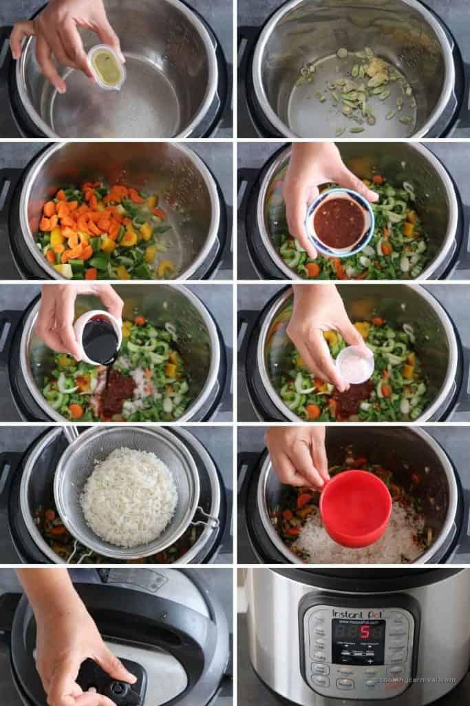 collage of making vegan nasi goreng in instant pot