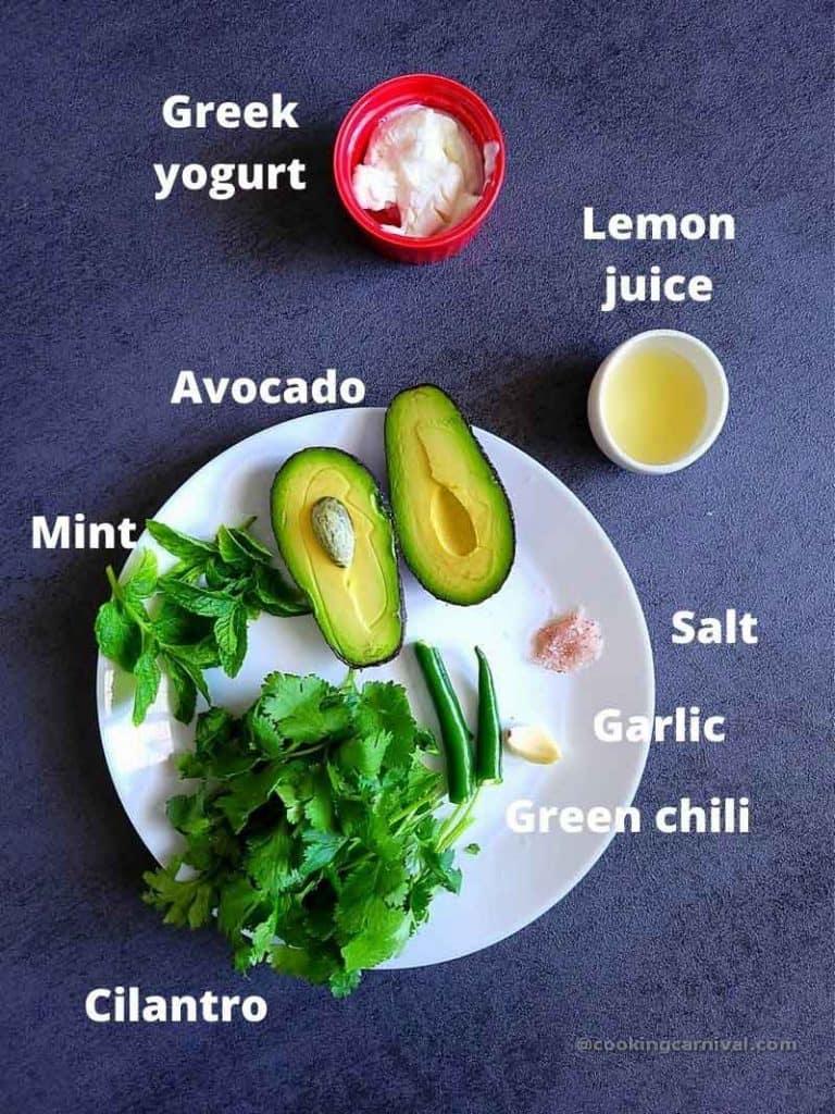 pre measured ingredients for avocado cilantro sauce