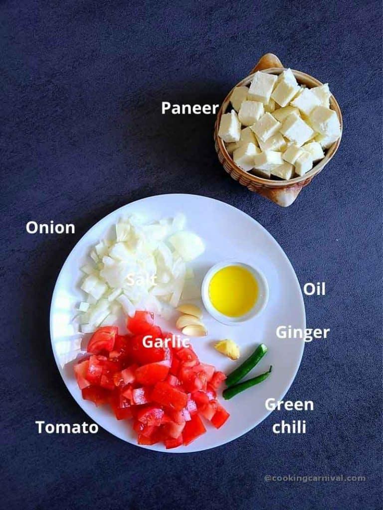 pre measured ingredients for Achari paneer