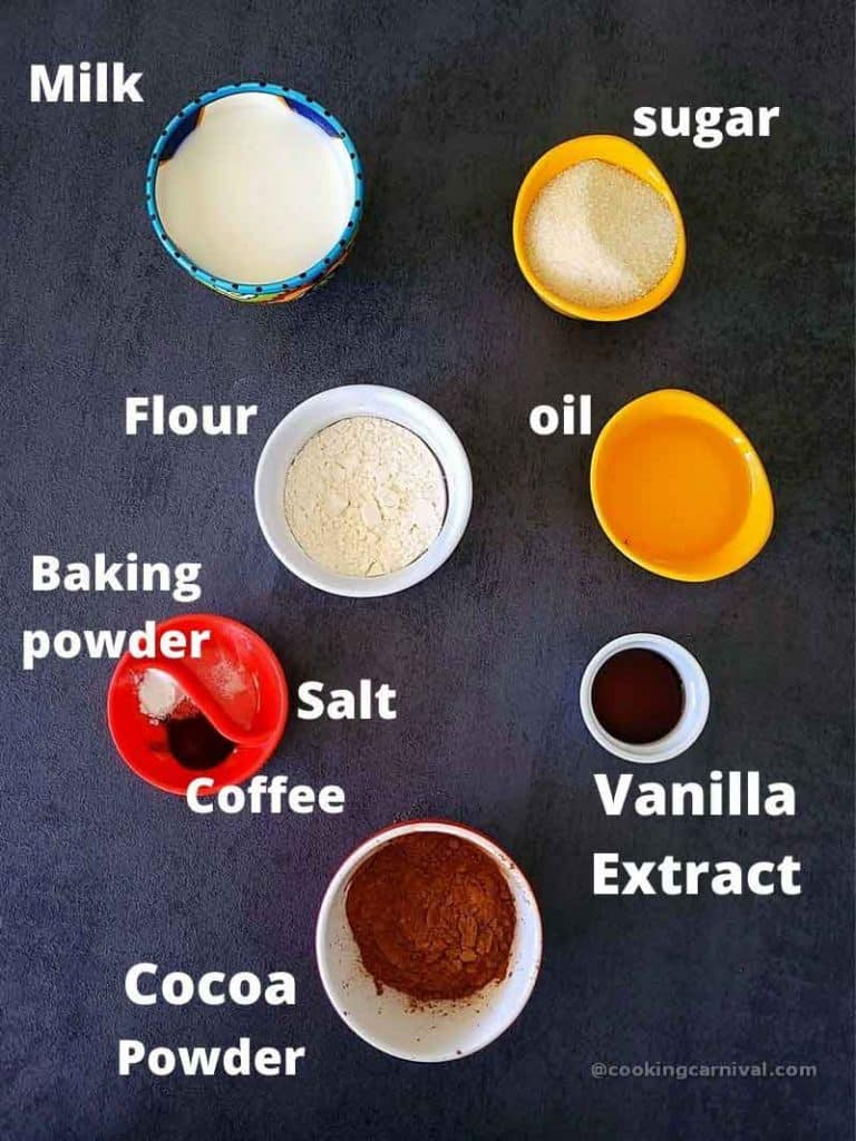 pre measured ingredients for Eggless chocolate lava cake