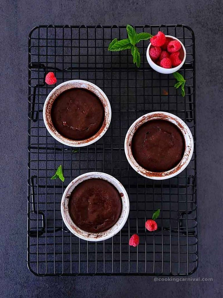 lava cake in container, placed on wire rack