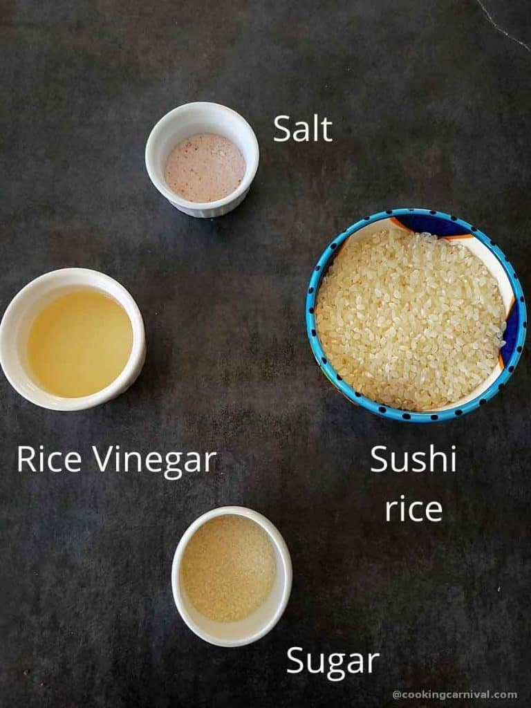Pre-measured ingredients for Instant pot Sushi rice
