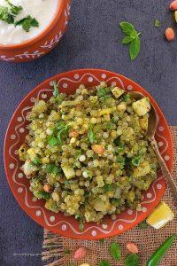 Sabudana khichdi served in tera cotta plate with kansa spoon