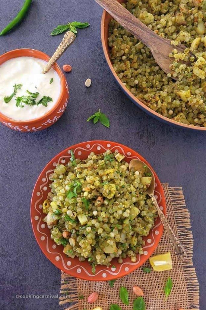 Sabudana khichdi in traditional plate, curd on side