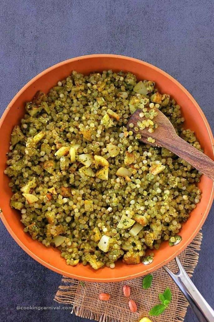 Sabudana khichdi in a pan
