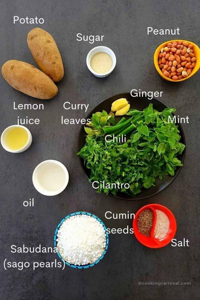 pre measured ingredients for making sabudana khichdi