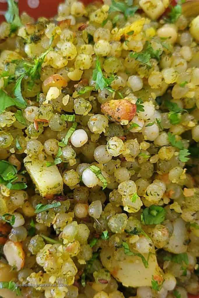 close up shot of Sabudana khichdi in green paste