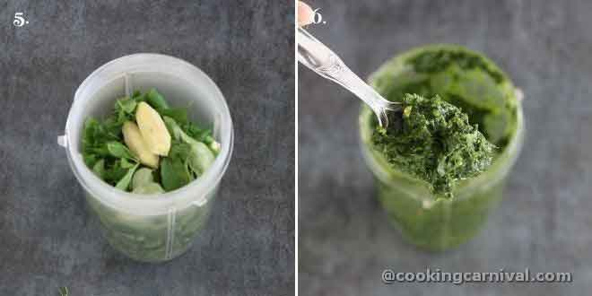 Making green paste from cilantro, mint, ginger and green chili