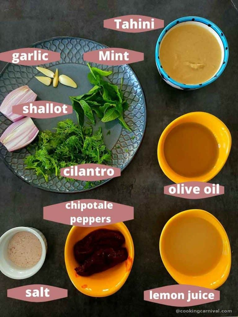 pre-measured ingredients for chipotle tahini sauce