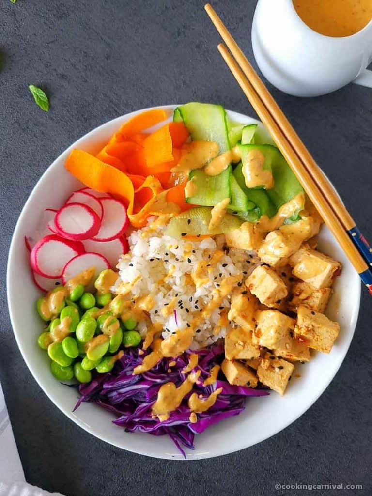 Vegan Poke bowl in white bowl