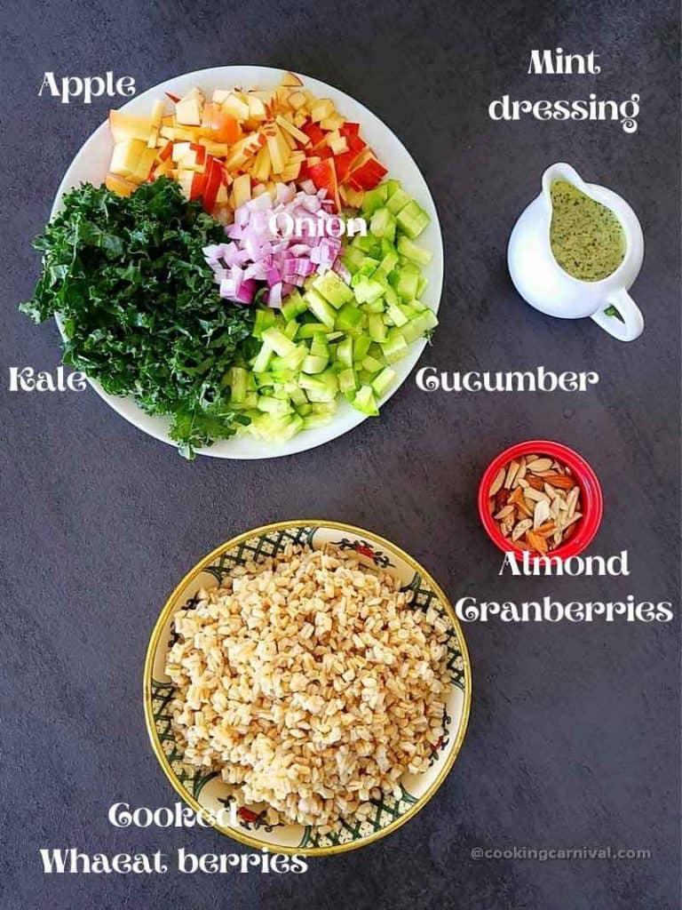 pre measured ingredients of wheat berry salad