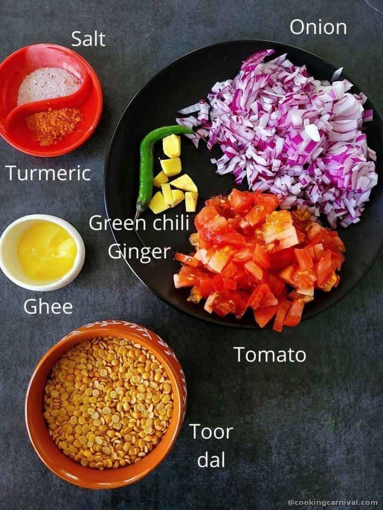 Pre measured ingredients of making dal