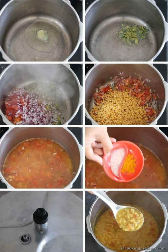 collage of cooking dal with tomato, onion, ginger and green chili in pressure cooker
