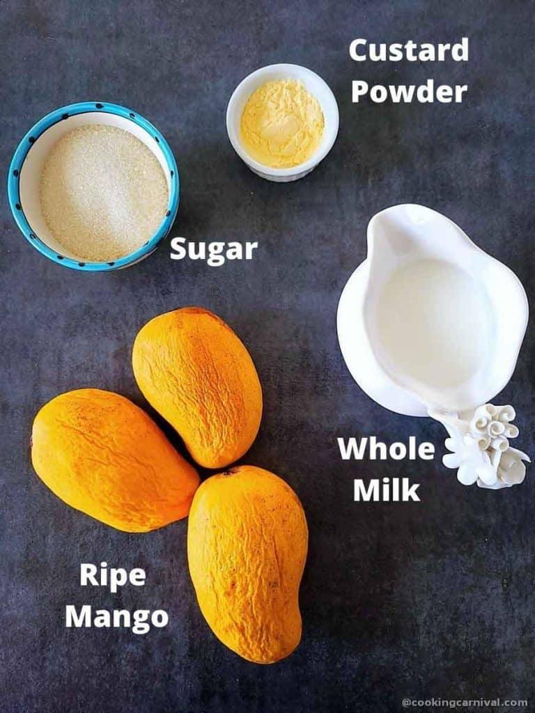 Pre measured ingredients for mango dessert