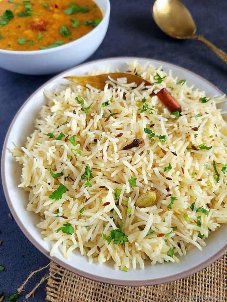 close up of jeera rice