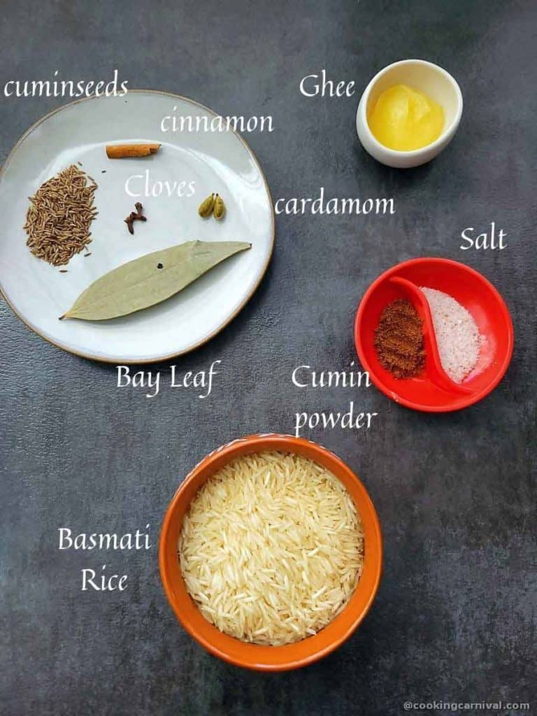 Pre-measured ingredients for cumin rice