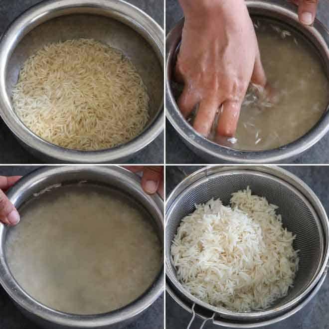 Collage of washing and soaking basmati rice