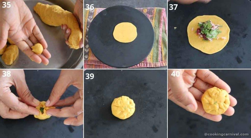 collage of making stuffed kachori