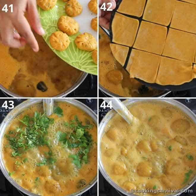 collage of adding dhokli in dal