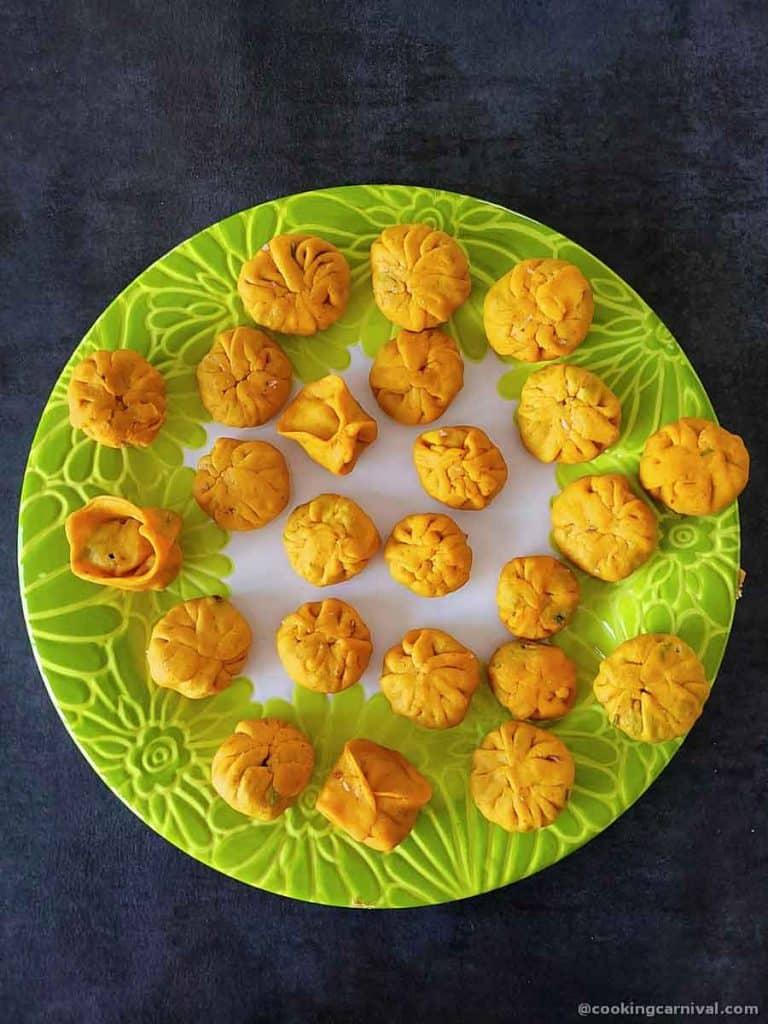 Stuffed dhokli in a plate
