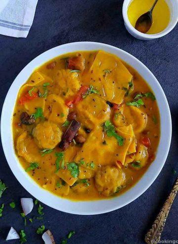 Kachori wali dal dhokli in a white bowl