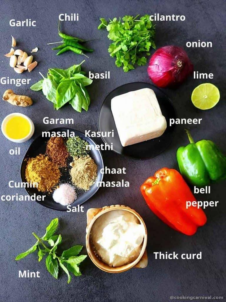 Pre-measured ingredients for hariyali paneer tikka
