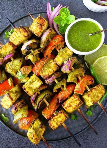 Paneer tikka made in oven with green paste