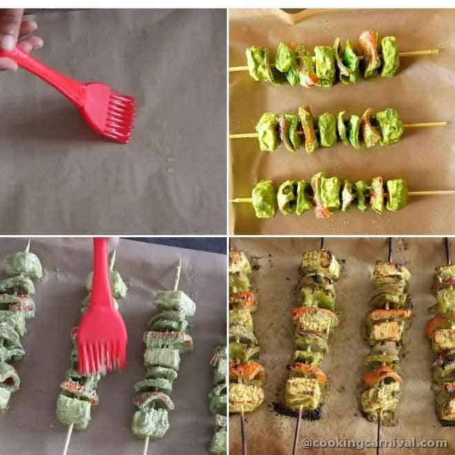 collage of Arranging skewers on baking sheet and baking them
