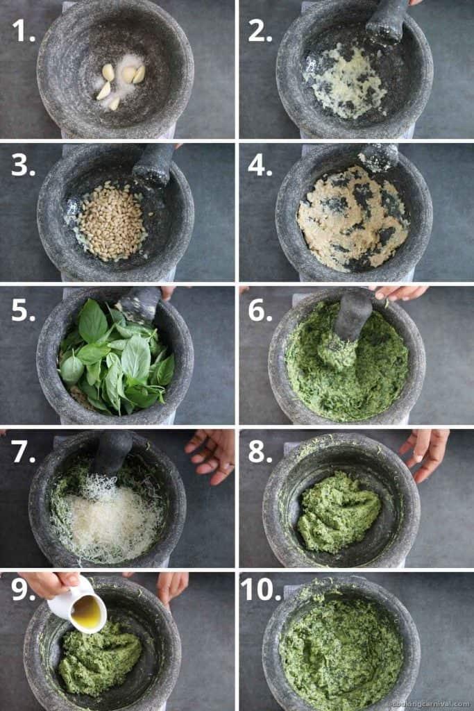 Collage of making fresh basil pesto in mortar and pestle