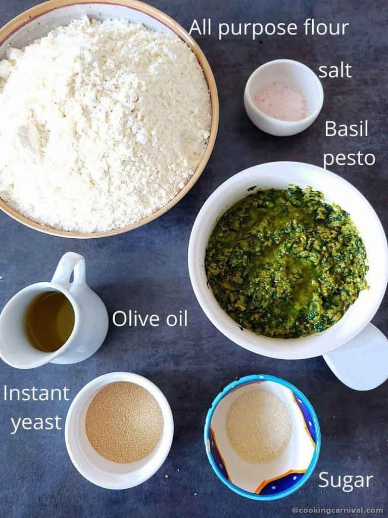 Pre-measured ingredients for no knead pesto focaccia bread