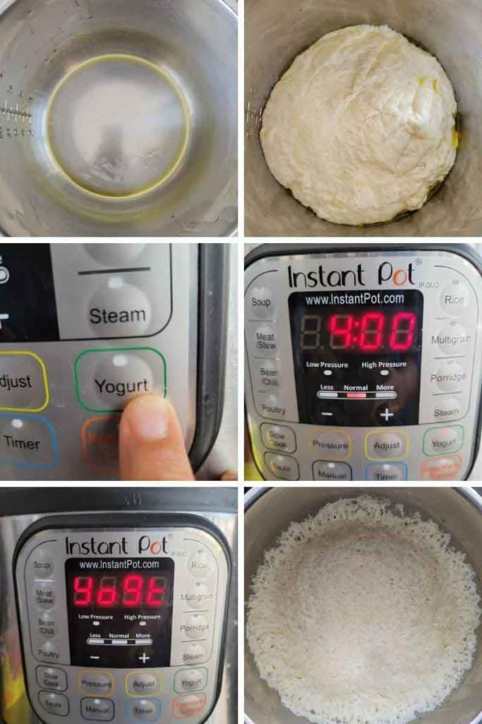 collage of Proofing bread dough in instant pot