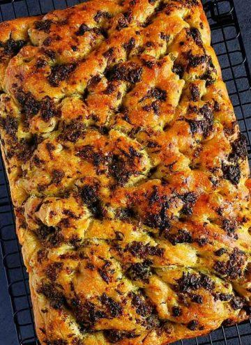 no knead basil focaccia bread