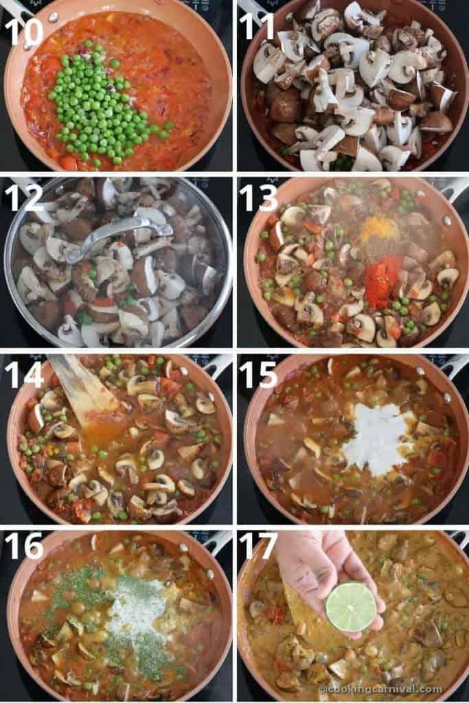 collage of making mushroom masala