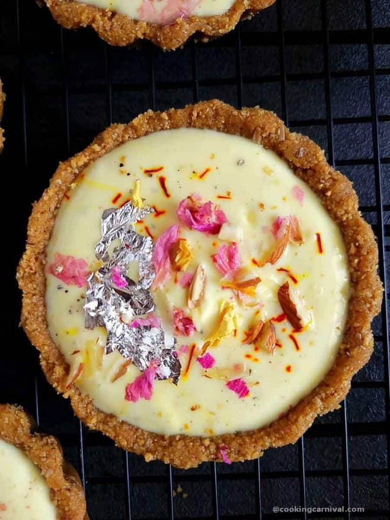 Close up shot of No bake shrikhand tart
