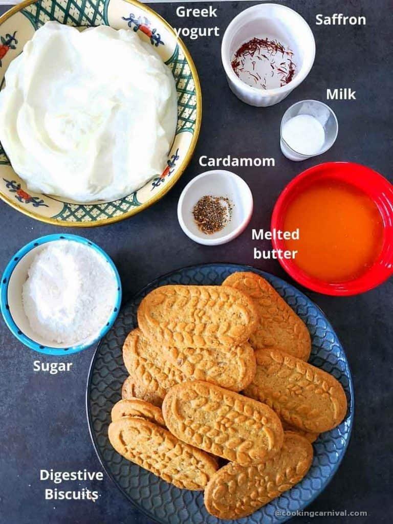 Pre measured ingredients for No bake shrikhand tart