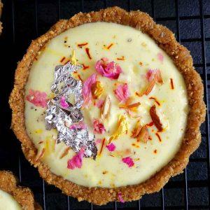 No bake shrikhand tart close up