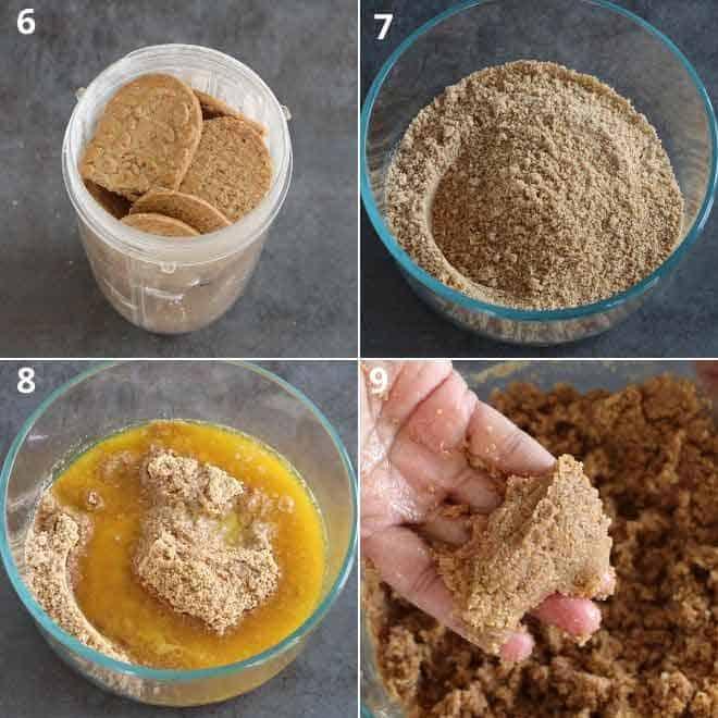 Collage of no bake tart mixture