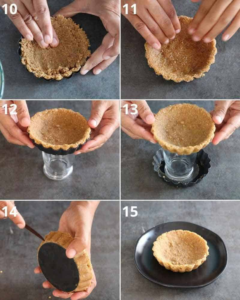 collage of removing tart from mini pans