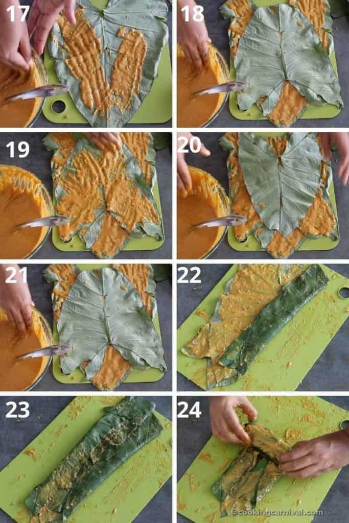 collage of applying besan paste on alu leaf
