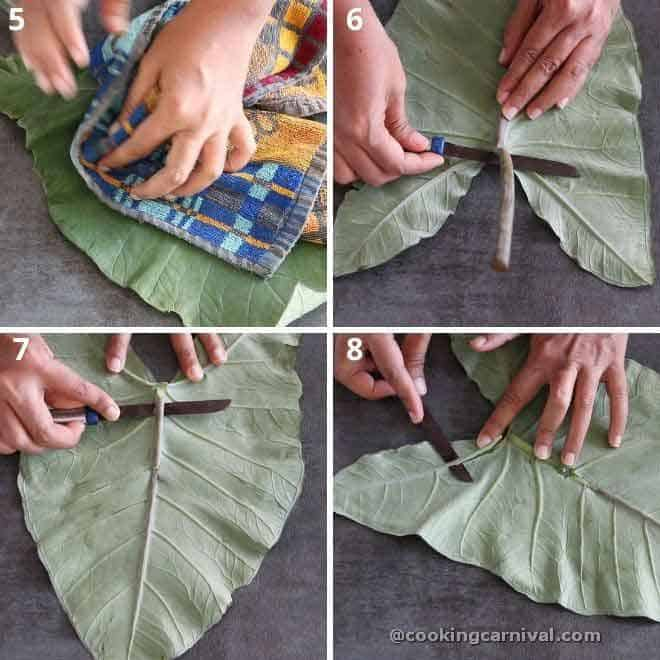 collage of removing veins from patra leaf