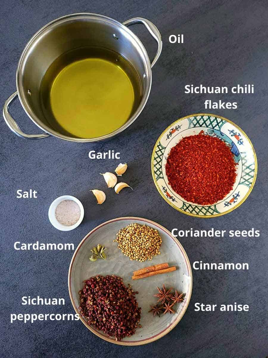 Pre-measured ingredients for Chili oil