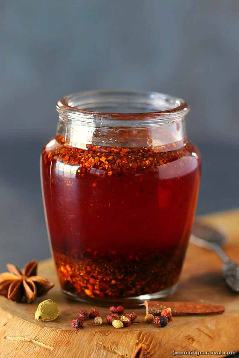 Chinese classic condiment, Chili oil in a glass bottle