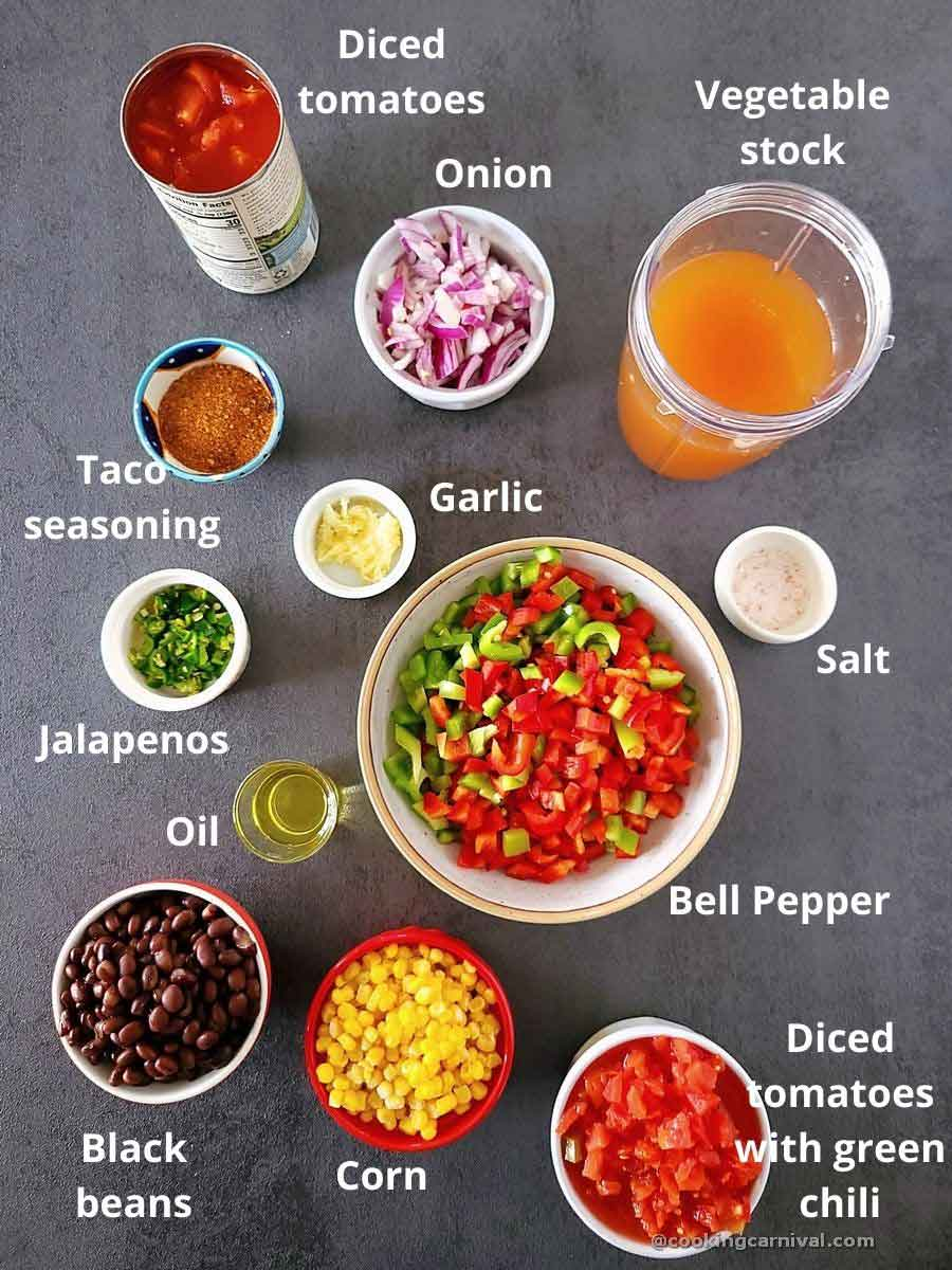 pre-measured ingredients of taco soup