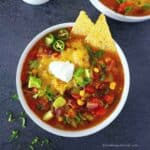 vegetarian taco soup in a white bowl